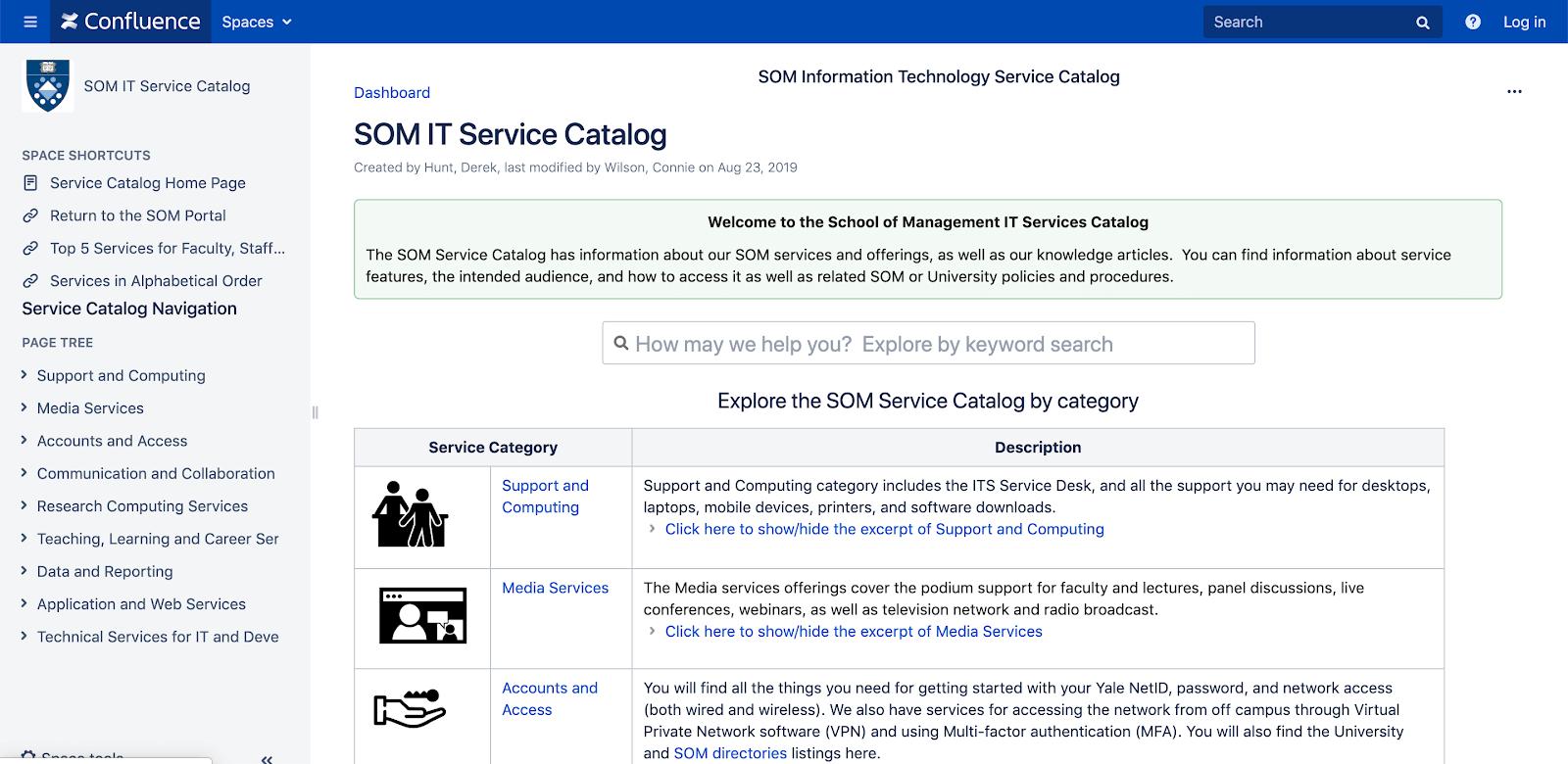 Confluence catalog