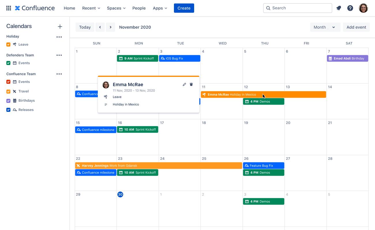 Kalendarz zespołu