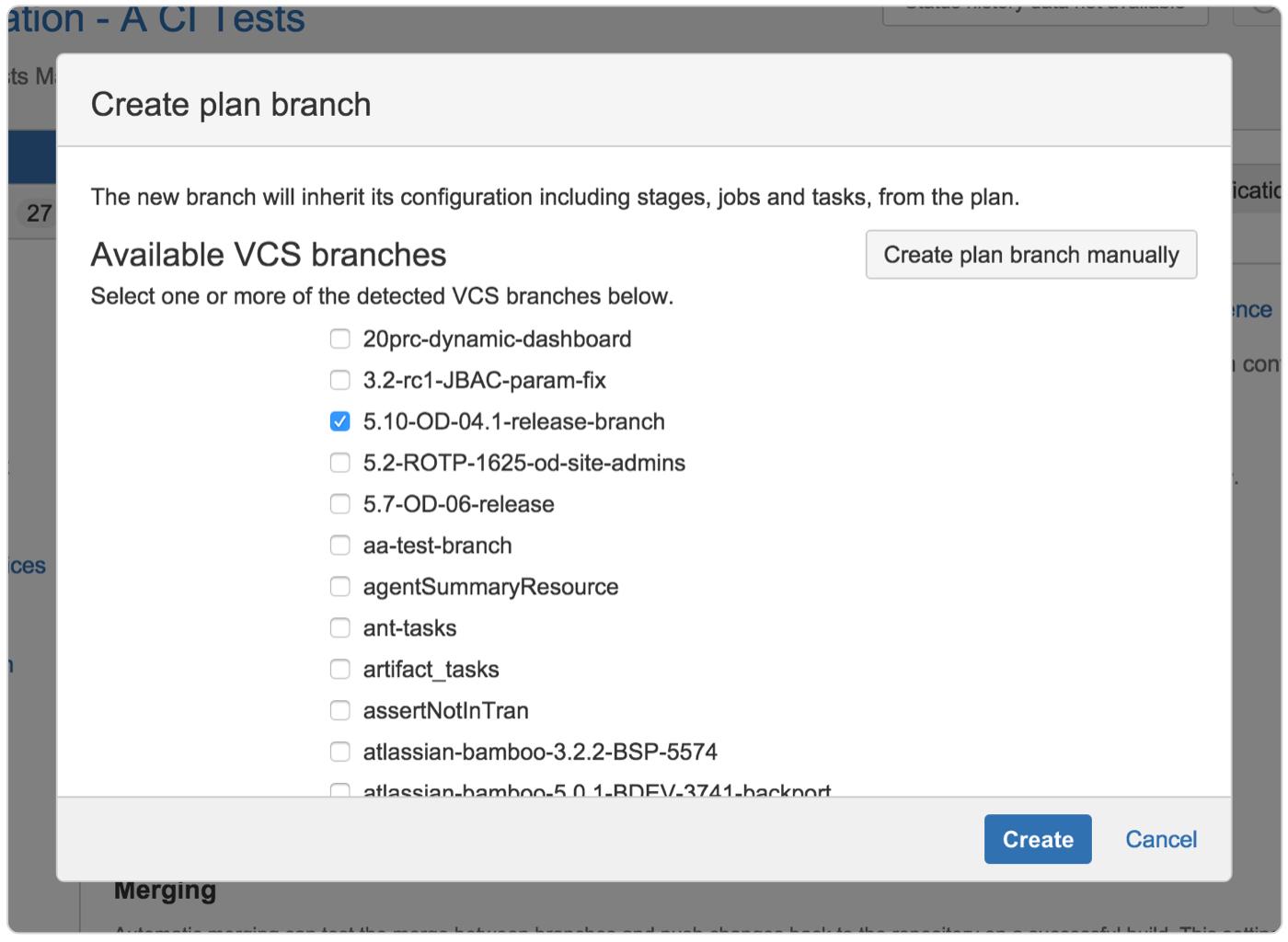 Captura de tela de Criar branch do plano
