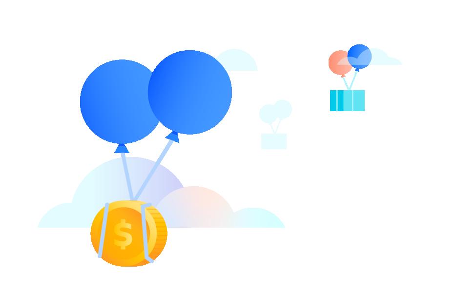 Balloon carrying coin
