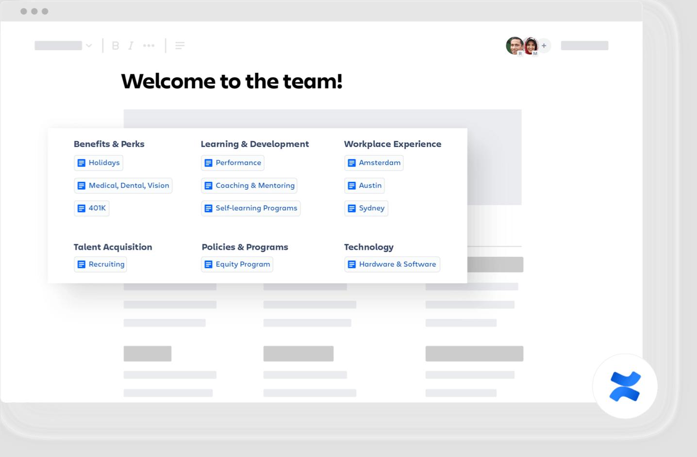 Página de Confluence de bienvenida al equipo