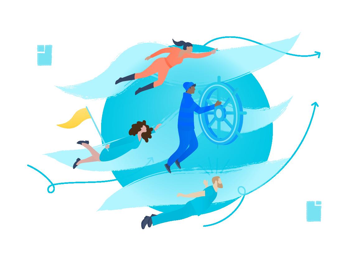 Personas flotando en el aire