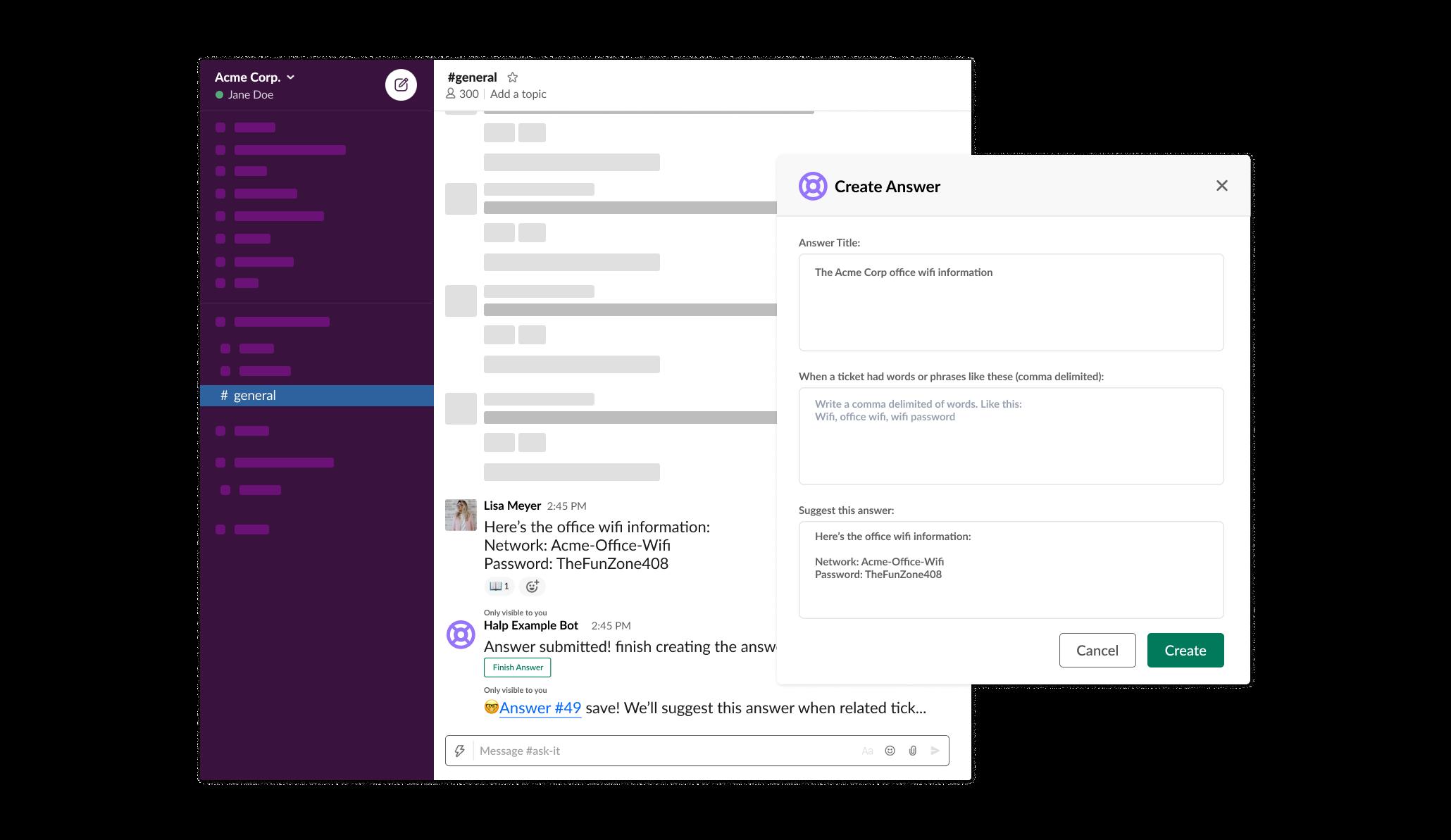 Transforme mensagens do Slack em tickets