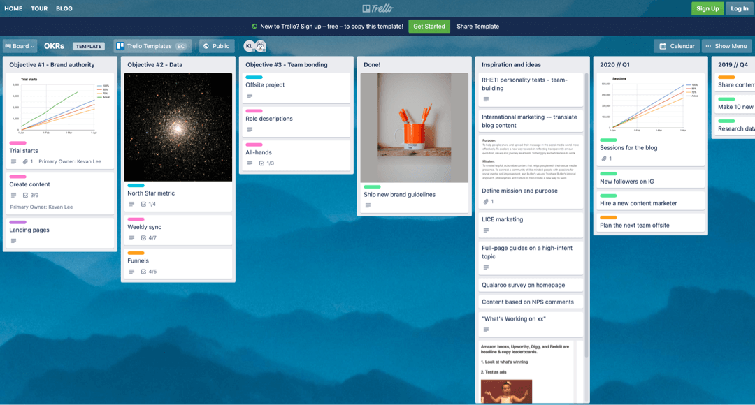 Trello okr board