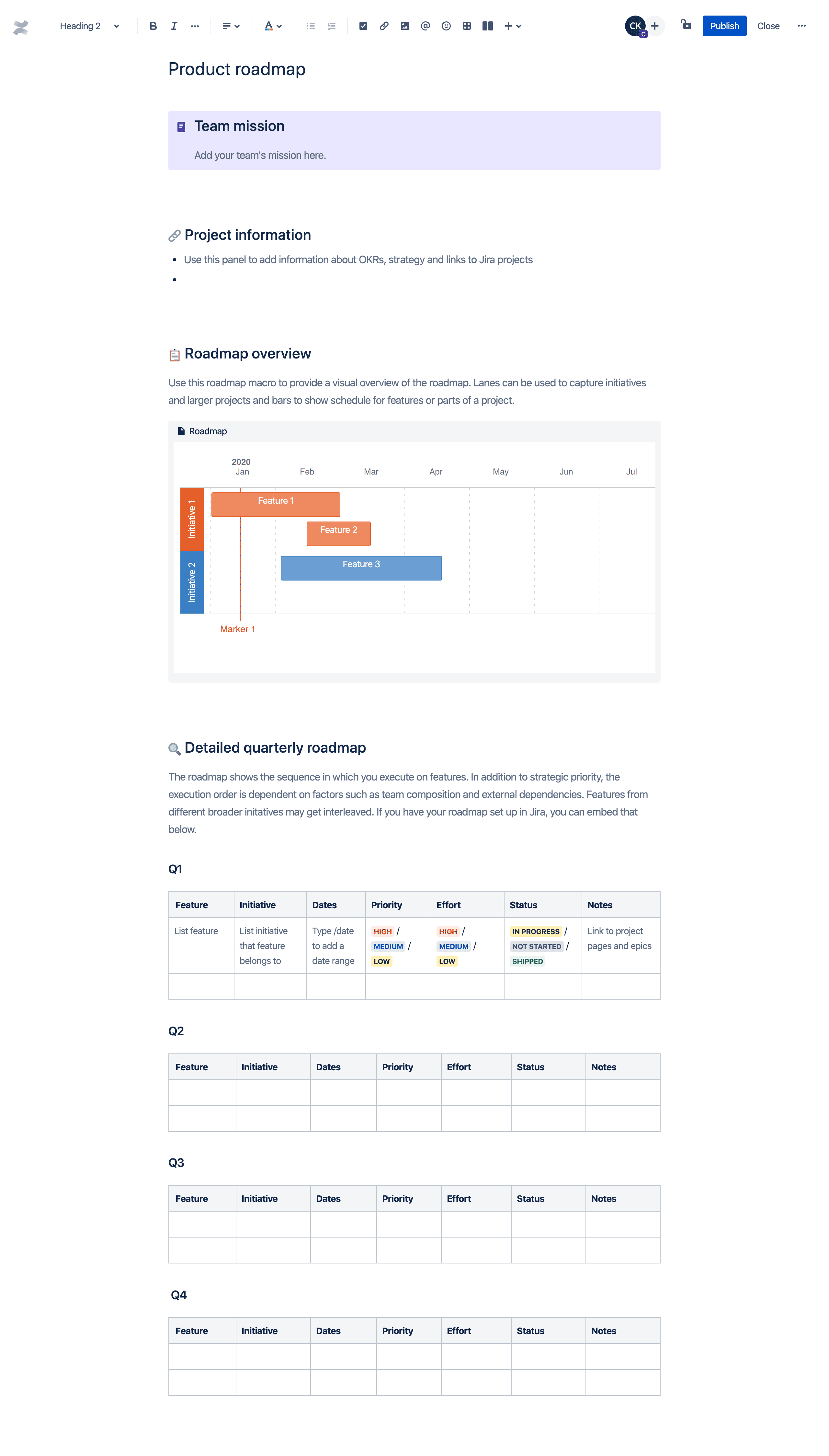 Product roadmap template