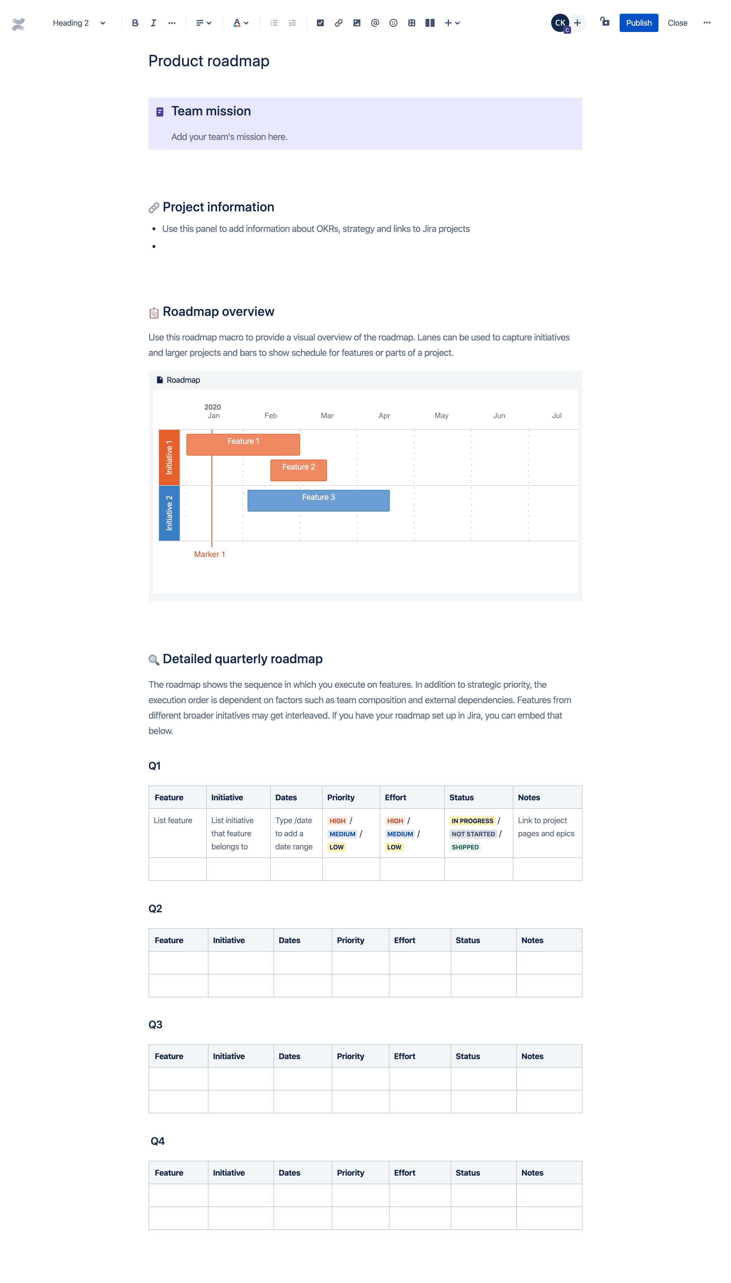 Sjabloon projectroadmap