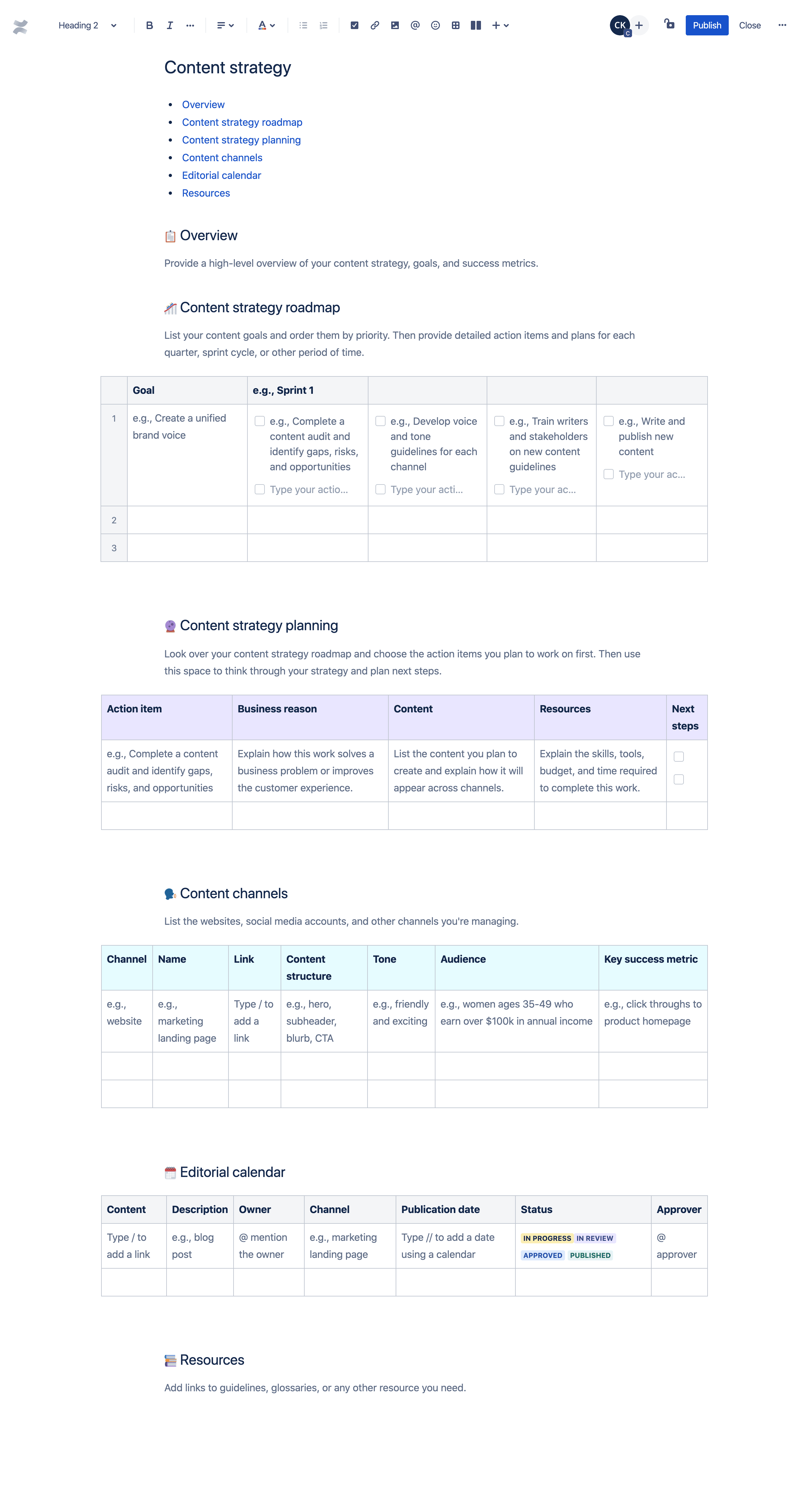 콘텐츠 전략 템플릿
