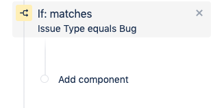 Next, add an action that assigns bugs to a certain group of users. On the left sidebar, which has a summary of the automation rule, click the Add component text underneath the If:matches condition.