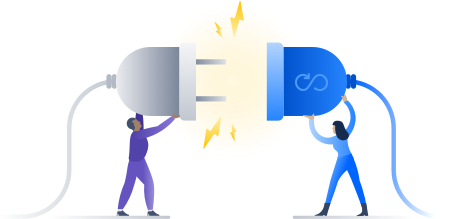 Illustration of two people holding plugs