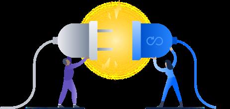 Illustration de deuxpersonnes tenant des connecteurs
