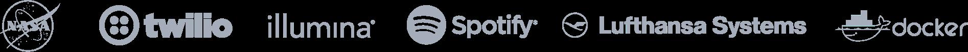 Customer logo set of NASA, twilio, illumina, lufthansa, spotify and docker