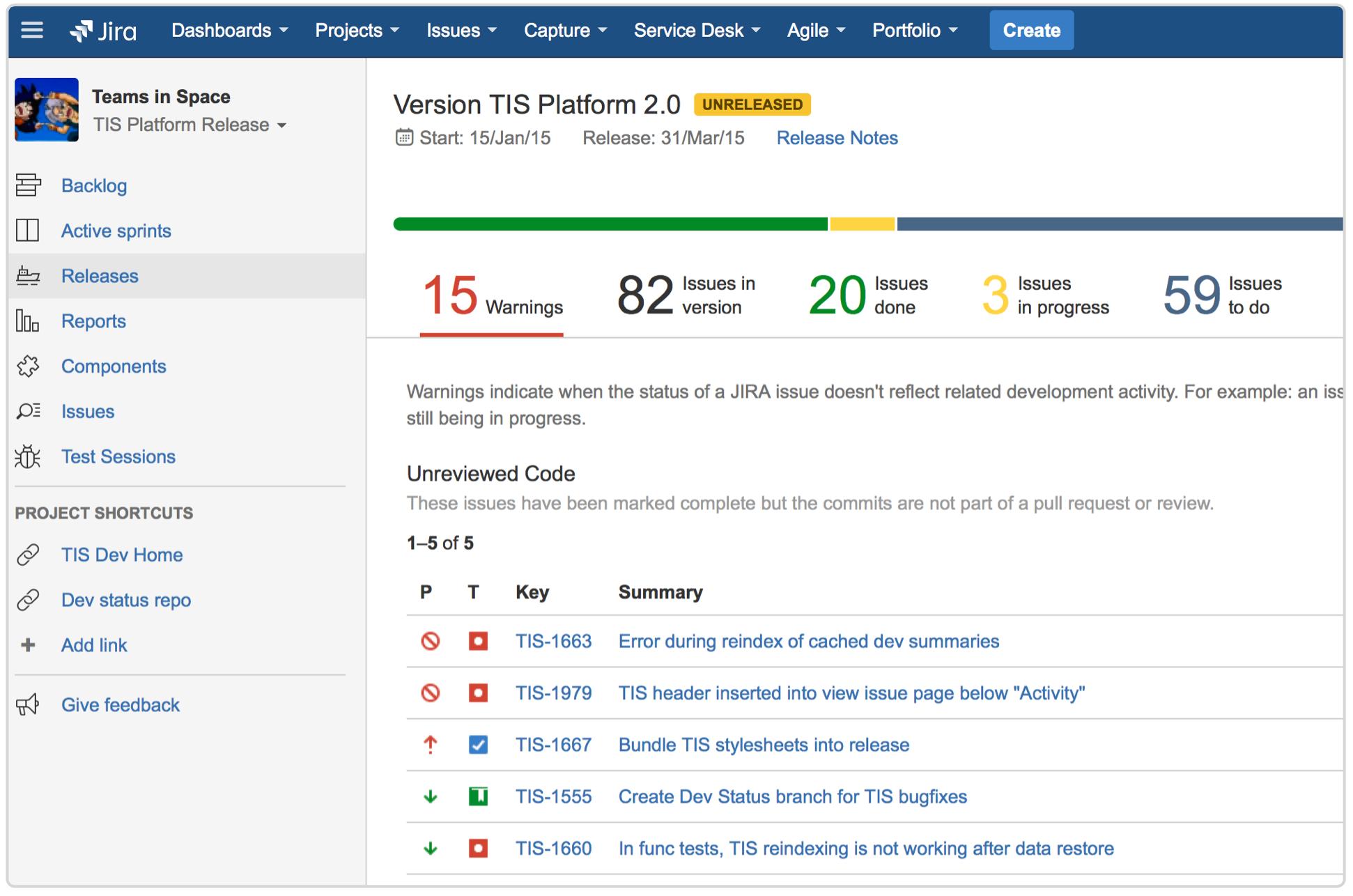 Jira release hub screenshot