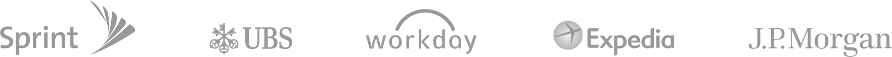 Logotipos de Sprint, UBS, Workday, Expedia y J.P. Morgan
