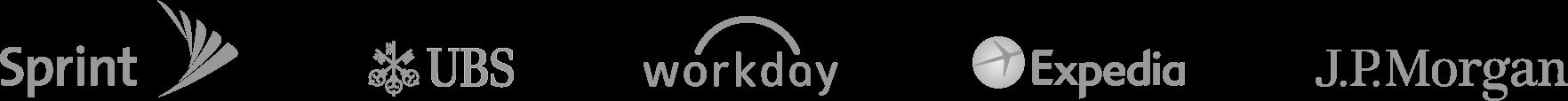 Logos da Sprint, UBS, Workday, Expedia e J.P. Morgan