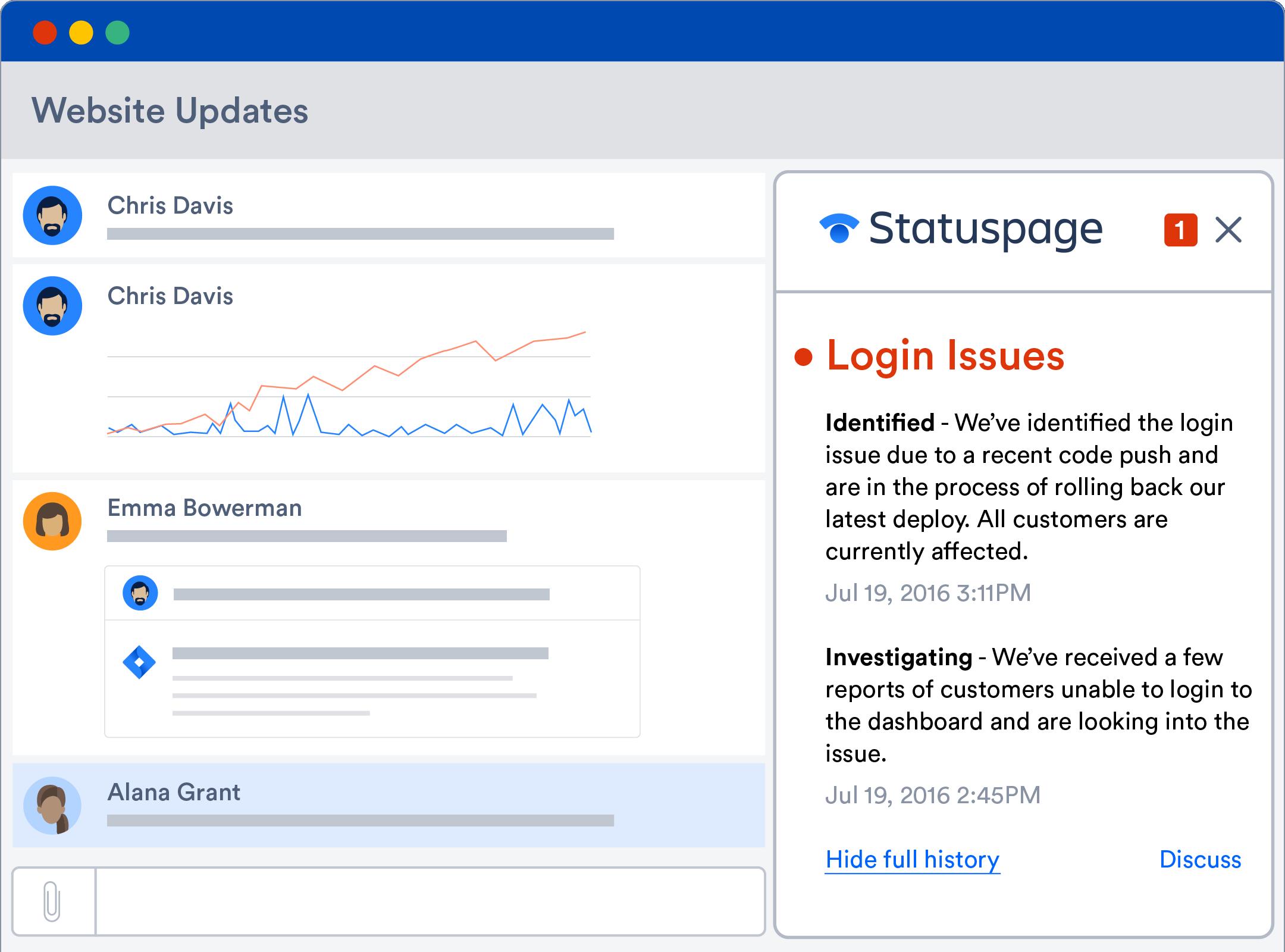 O Statuspage se integra ao Hipchat