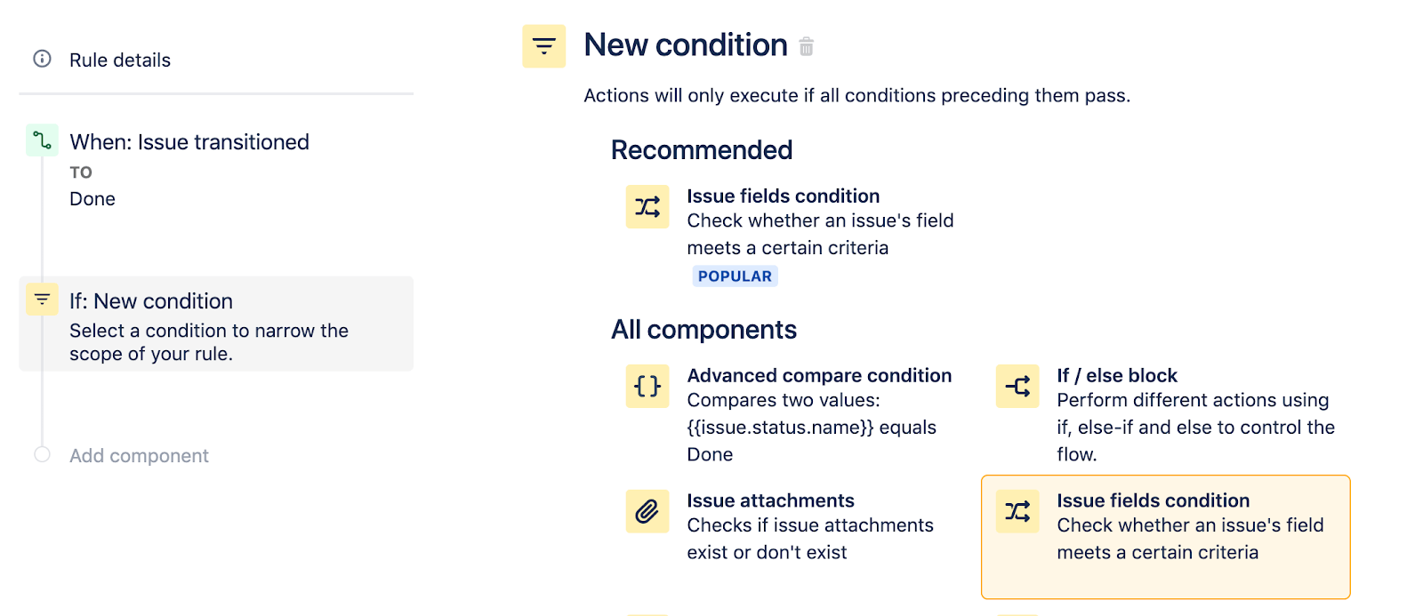 Select Issue fields condition