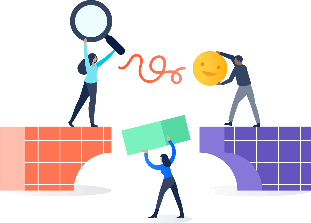 Ilustração de pessoas entregando objetos em uma ponte