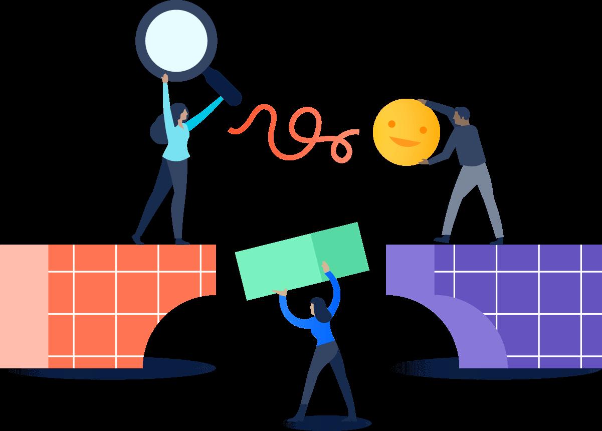 Illustration of people handing objects across a bridge