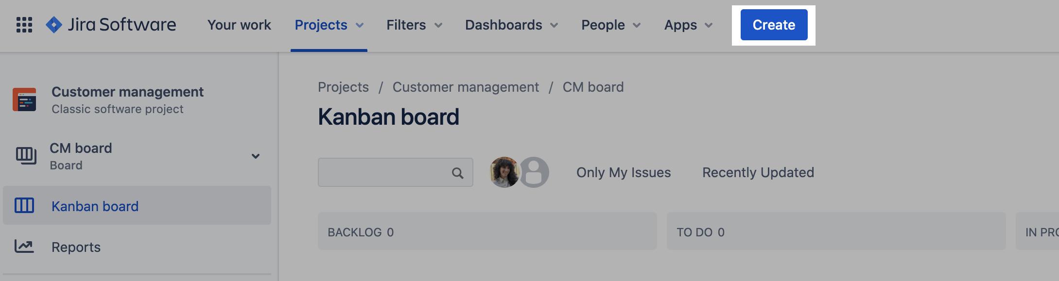 Capture d'écran mettant en évidence le bouton «Create» (Créer) pour créer un ticket dans un tableauKanban