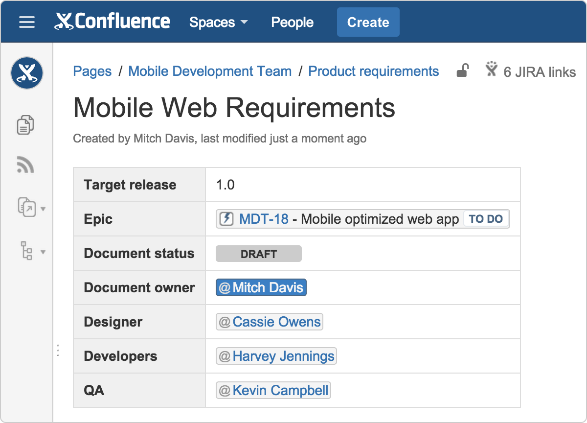 Define project specifics in your product requirements document with team members, release dates, Jira epic, and status.