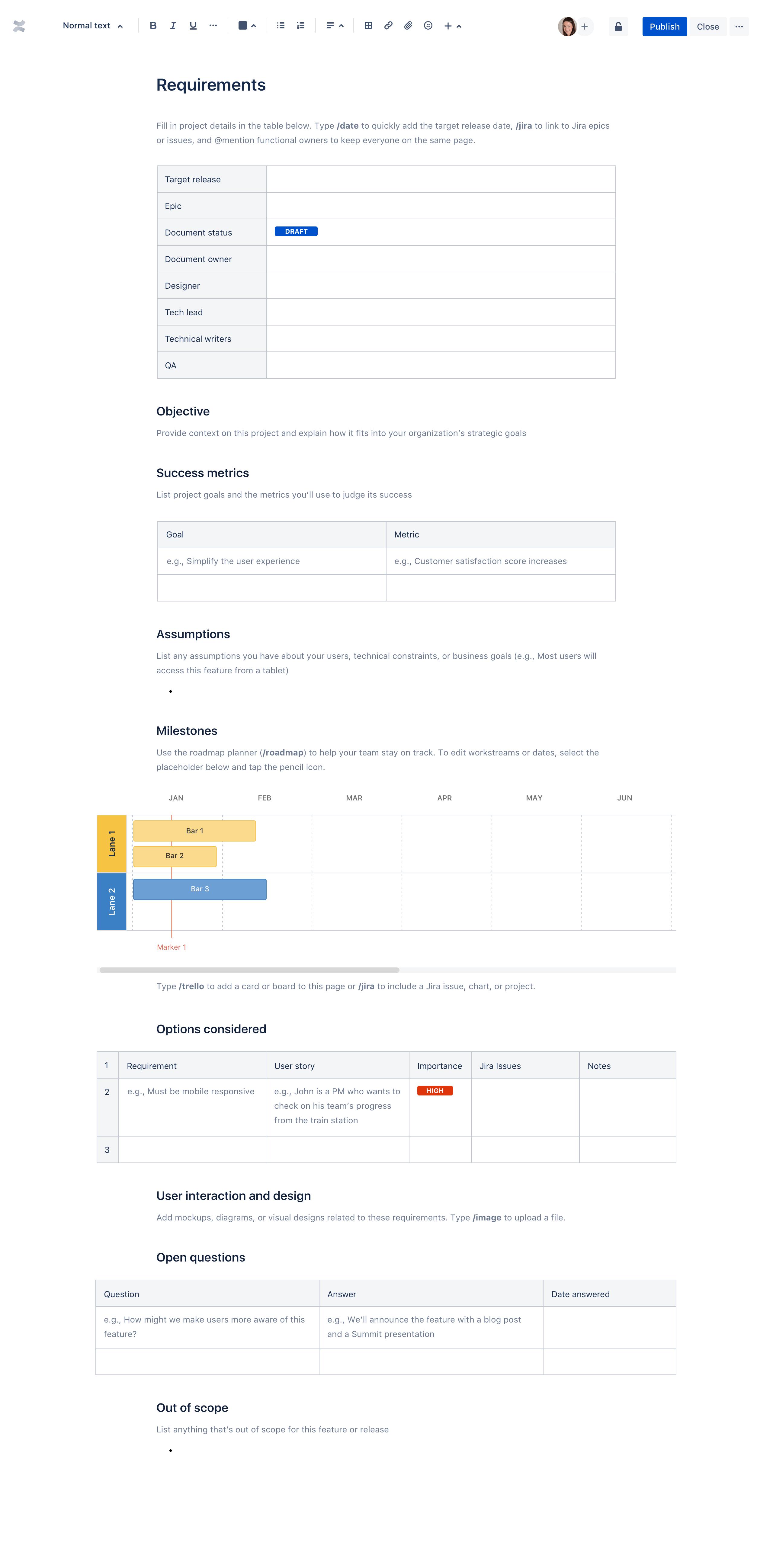 제품 요구 사항 문서 템플릿