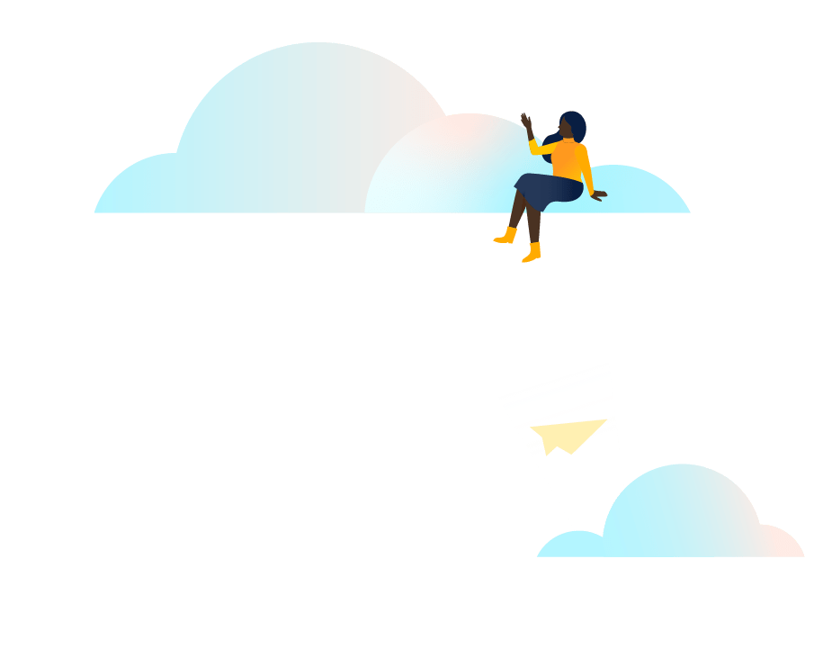 Person sitting on clouds