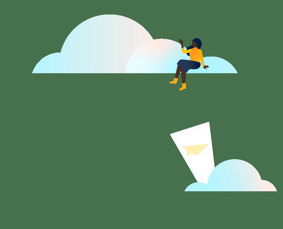 Pessoa sentada em nuvens