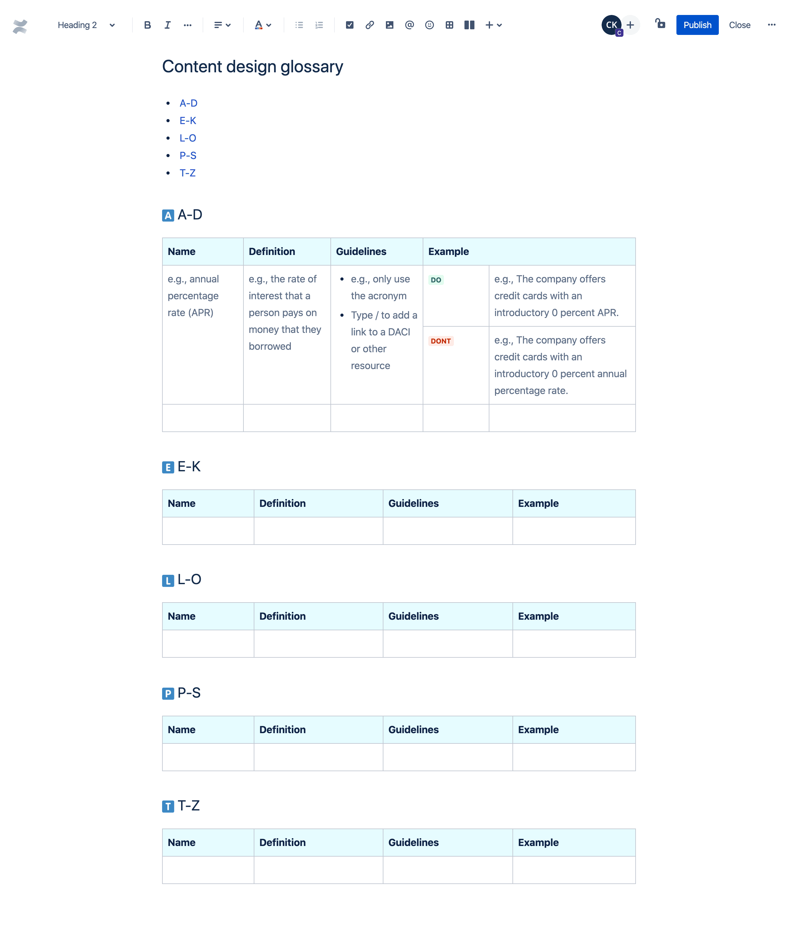 Content design glossary template