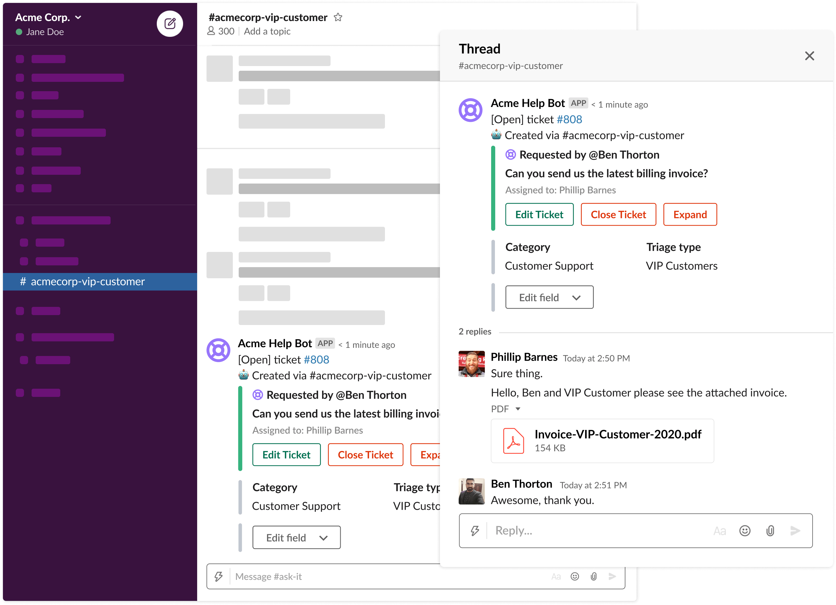 Turn messages into tickets