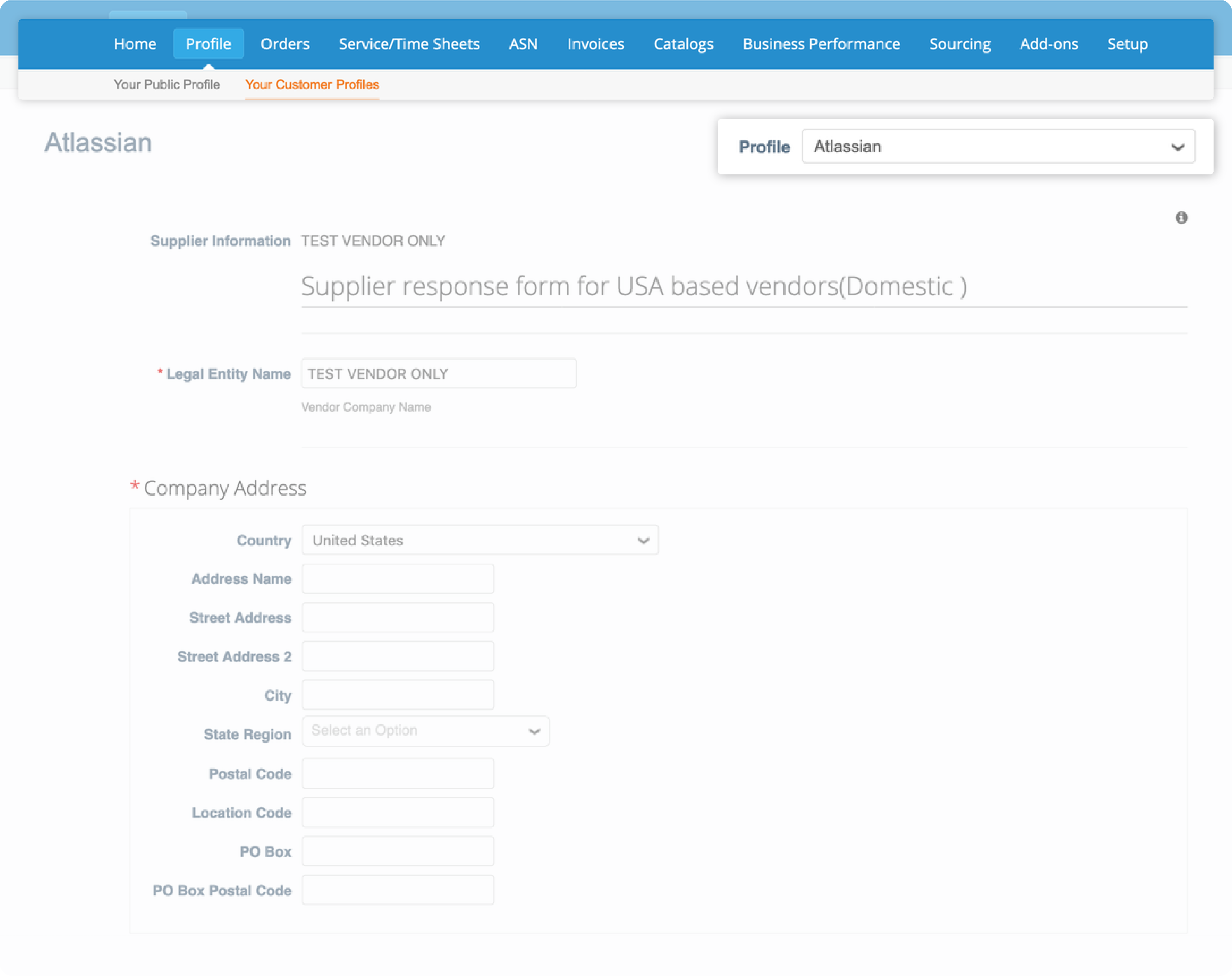 Making a customer profile under the profile tab on Coupa Supplier Portal
