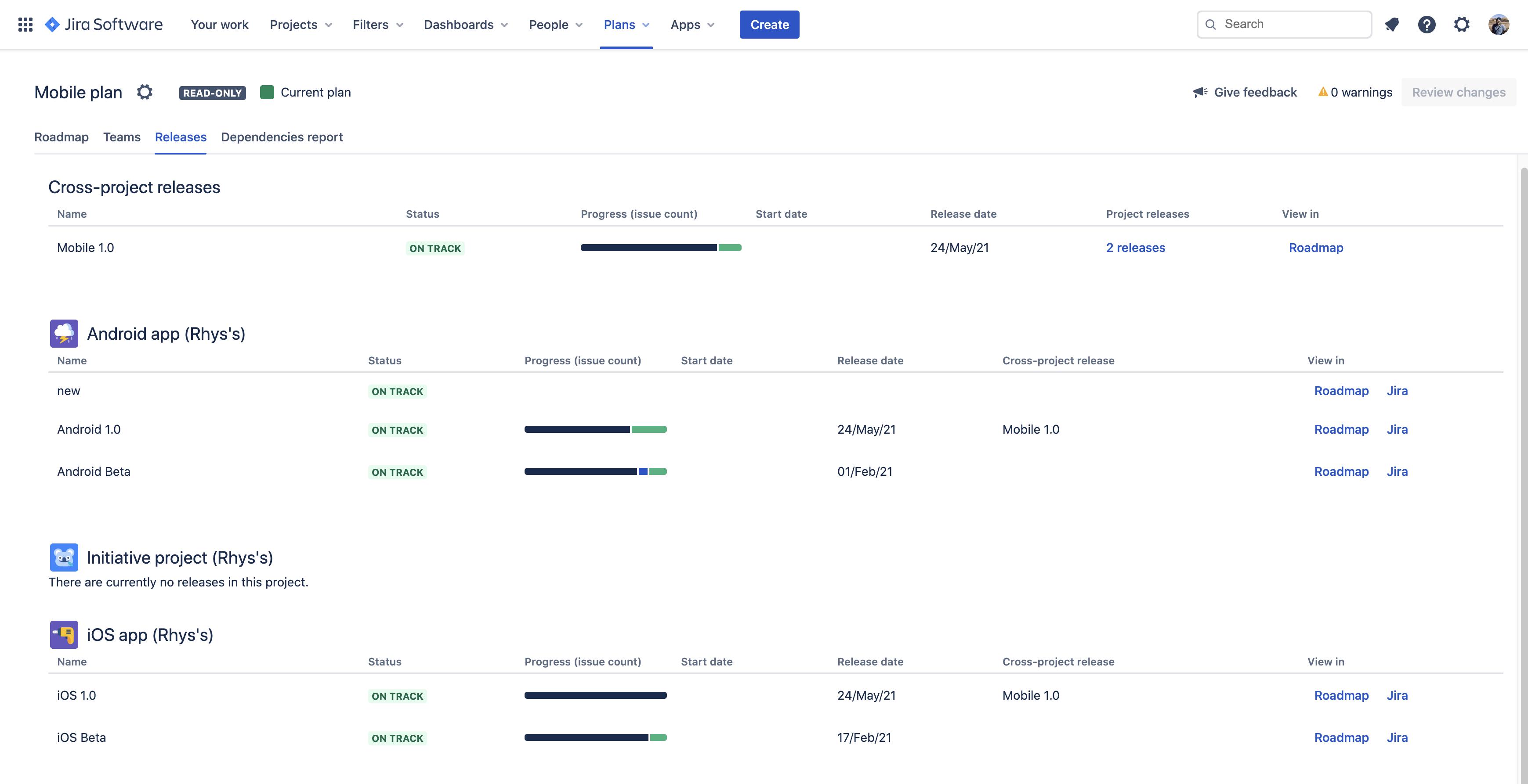 Вкладка Releases (Релизы) в Advanced Roadmaps