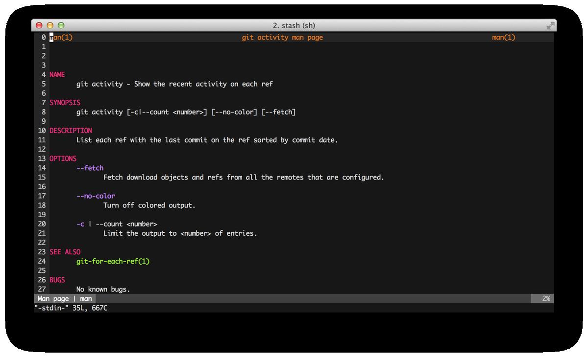 Page du manuel d'activité de Git