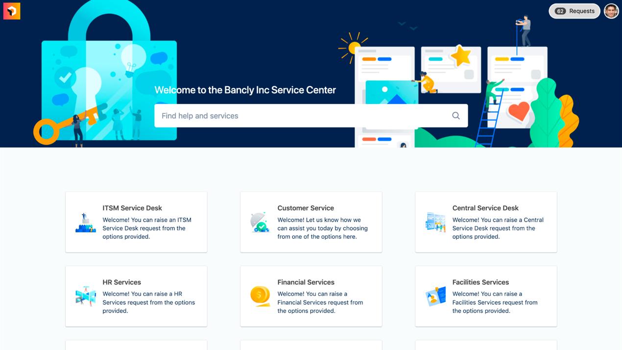 Screenshot del centro servizi