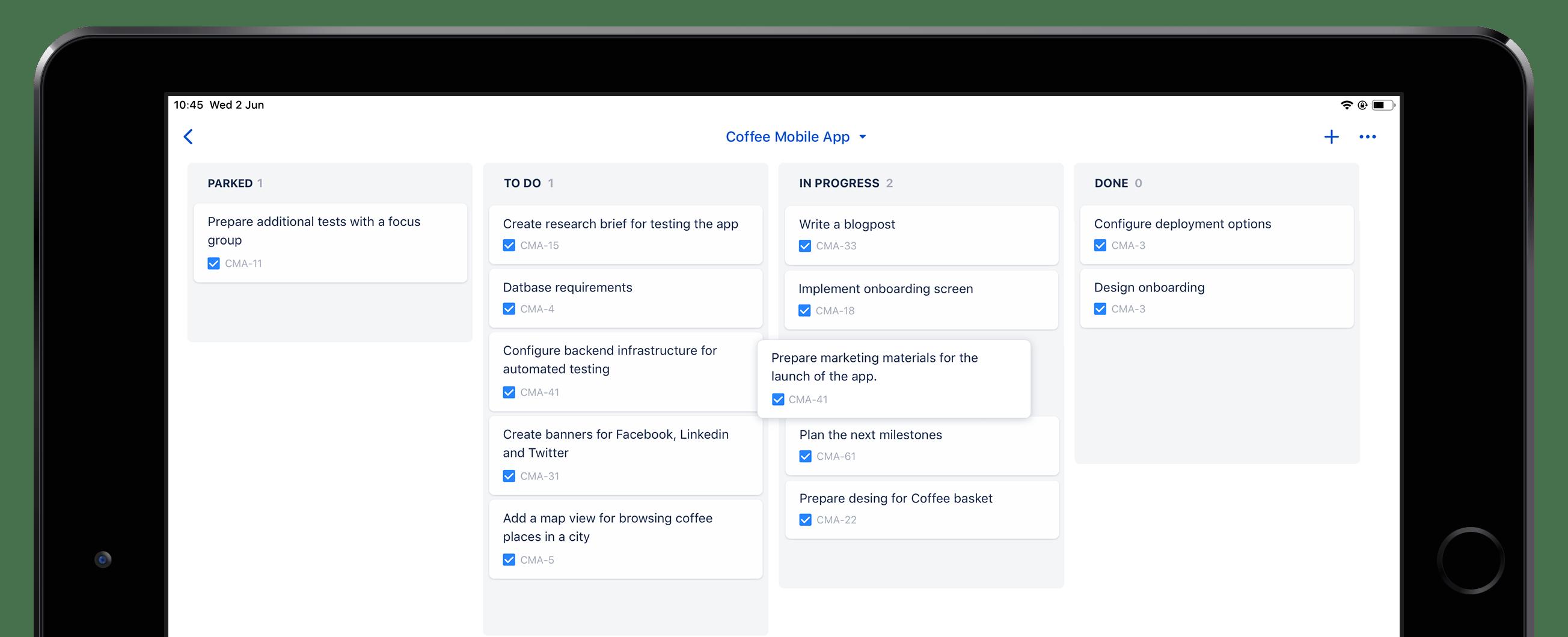 Captură de ecran Jira Cloud Mobile pe un iPad