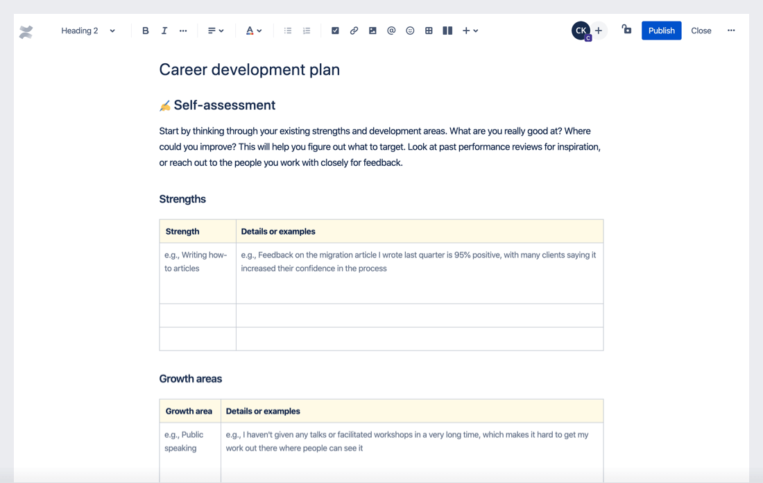Career development plan template preview