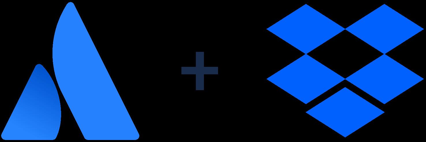Atlassian 徽标 + Dropbox 徽标