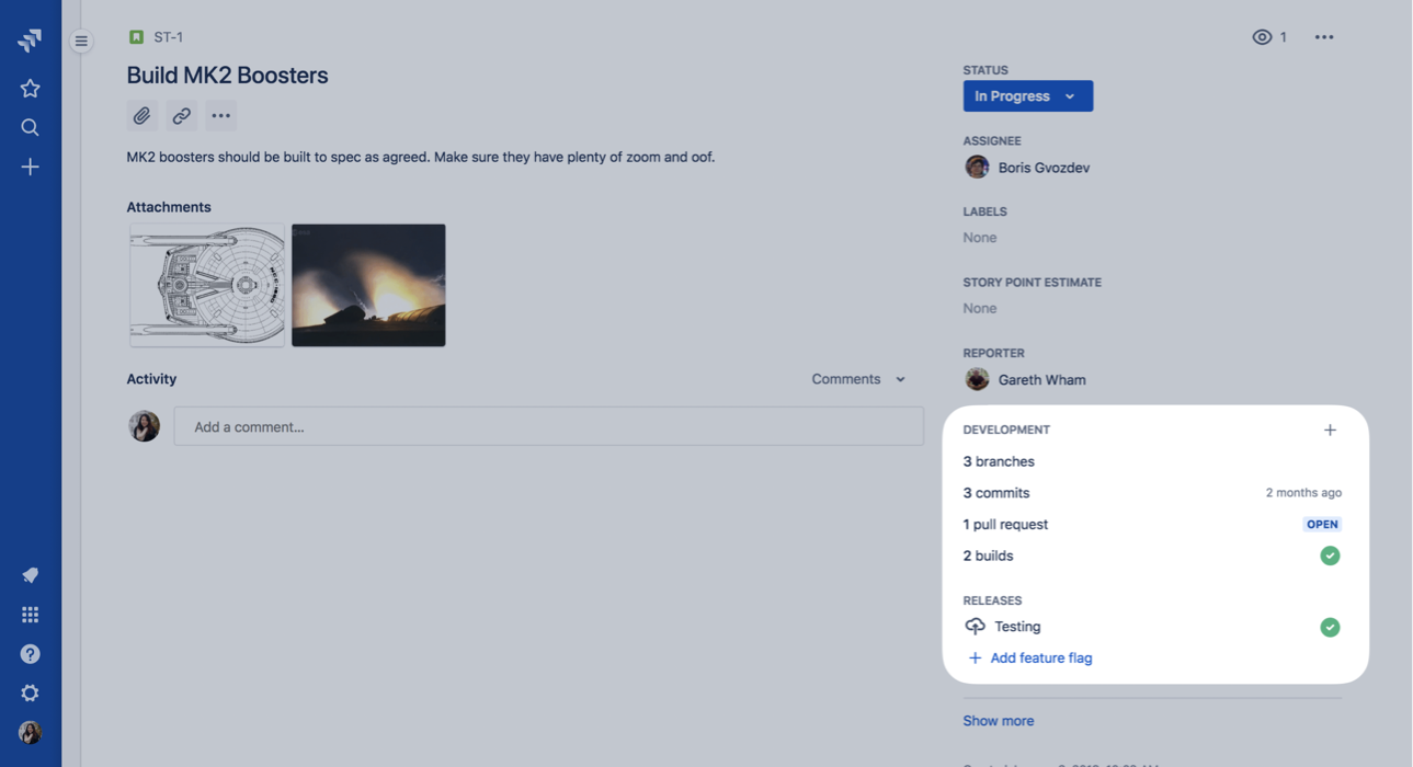 Screenshot dell'integrazione Bitbucket Jira