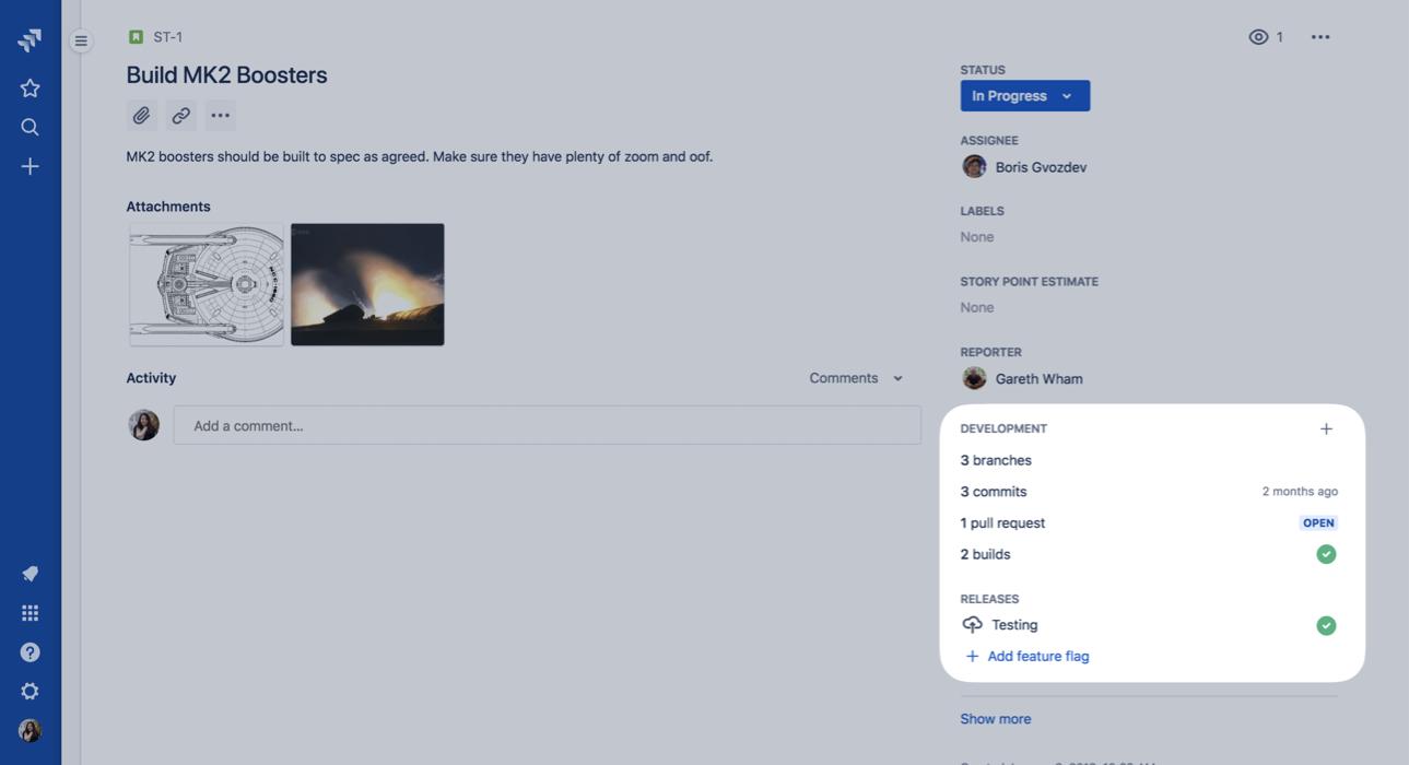 Captura de tela da integração do Bitbucket e do Jira