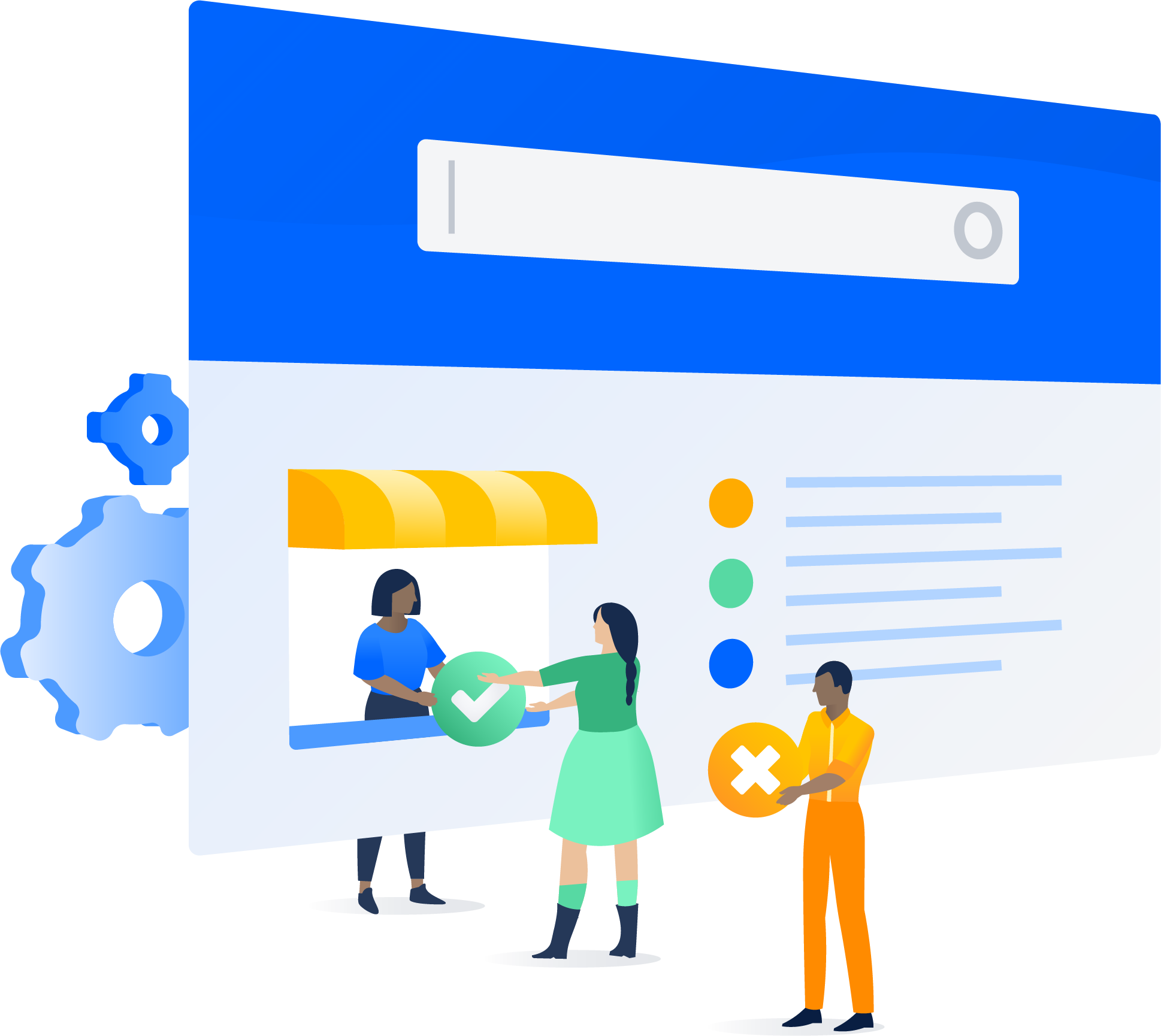 Jira Service Desk kiosk with people trading x icons for check icons