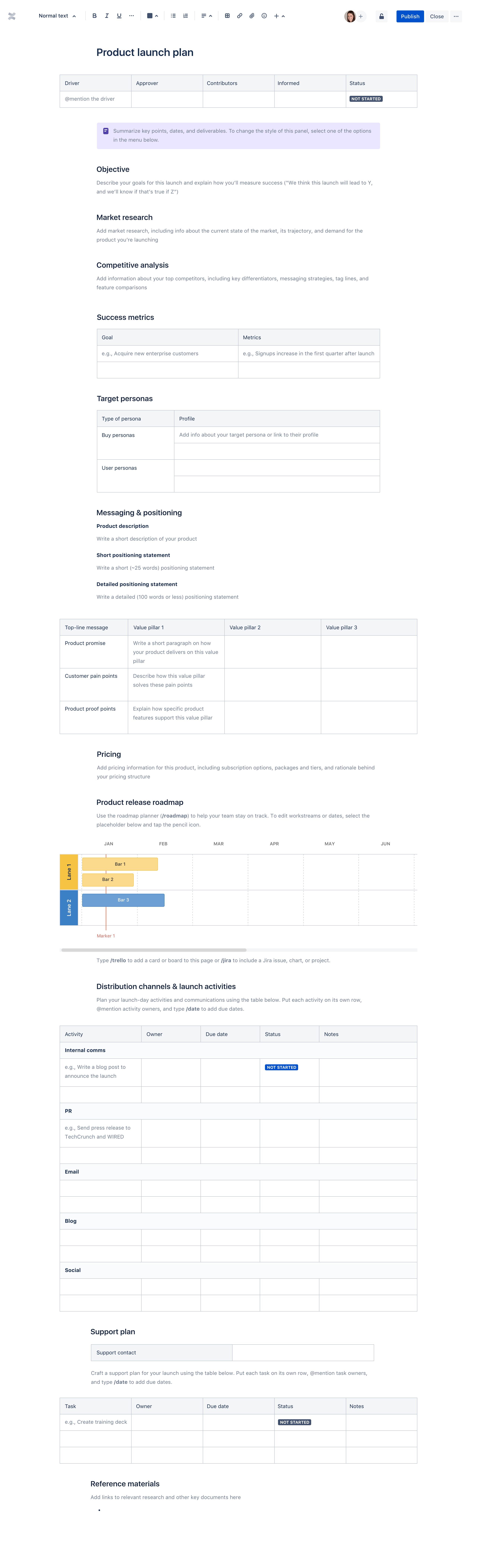 Template de plano de lançamento de produto
