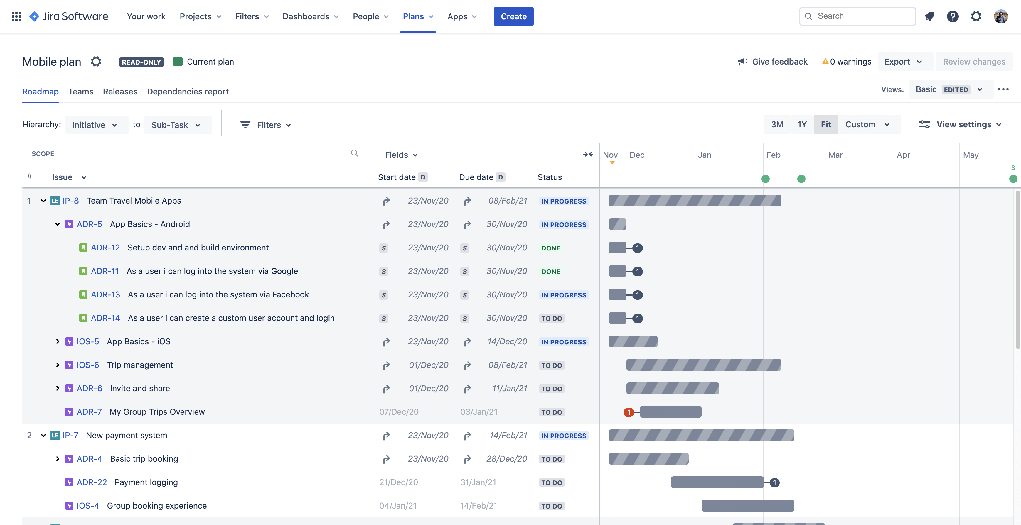 Widok harmonogramu planu w Advanced Roadmaps for Jira Software