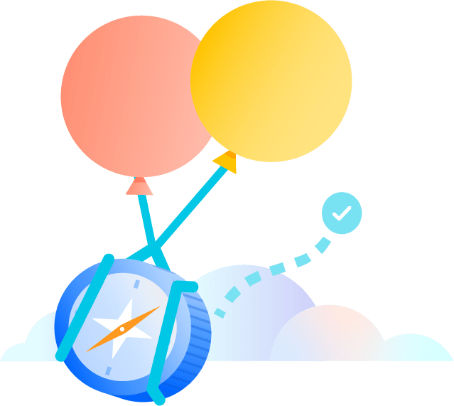 Balloons carrying a compass over clouds