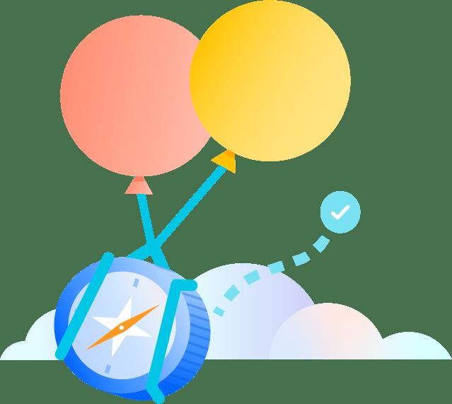 Balões carregando uma bússola sobre as nuvens