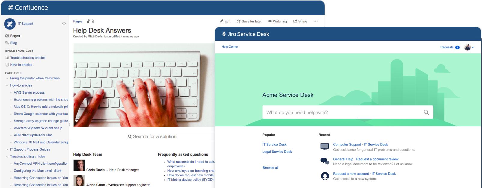 Snímky obrazovky Confluence a Jira Service Desk