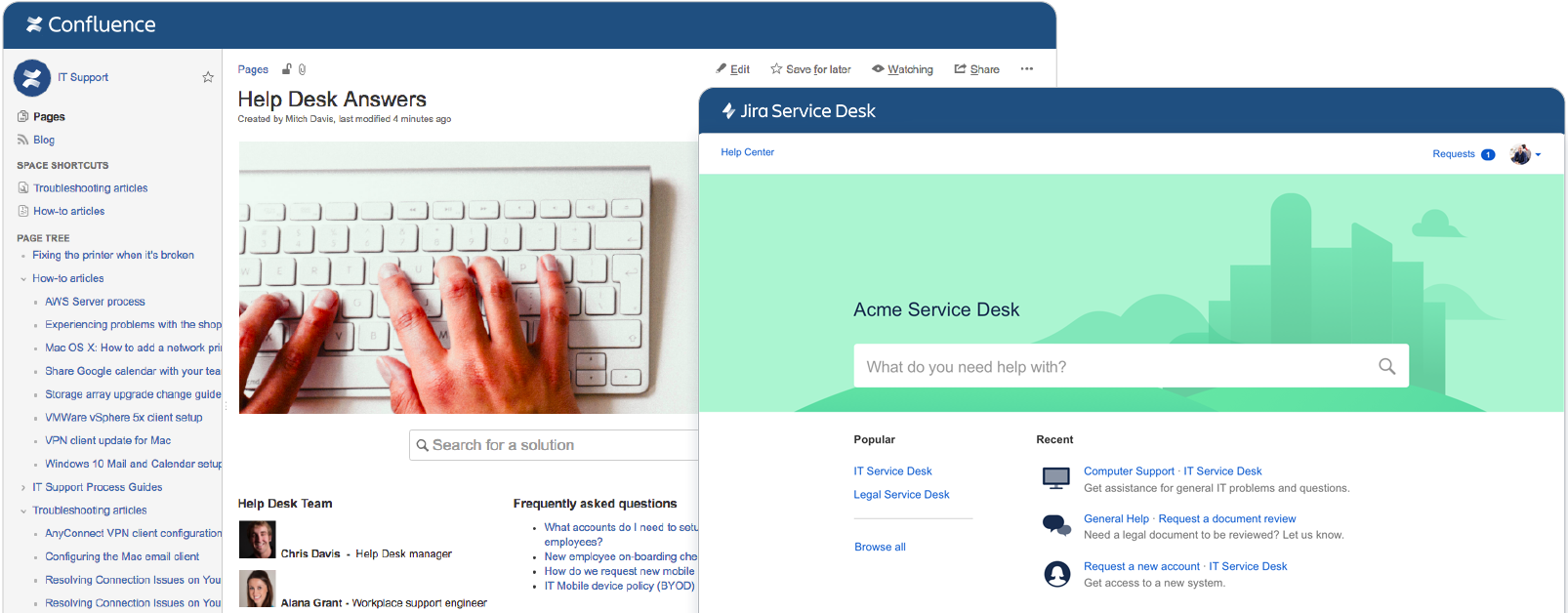 Screenshot Confluence e Jira Service Desk