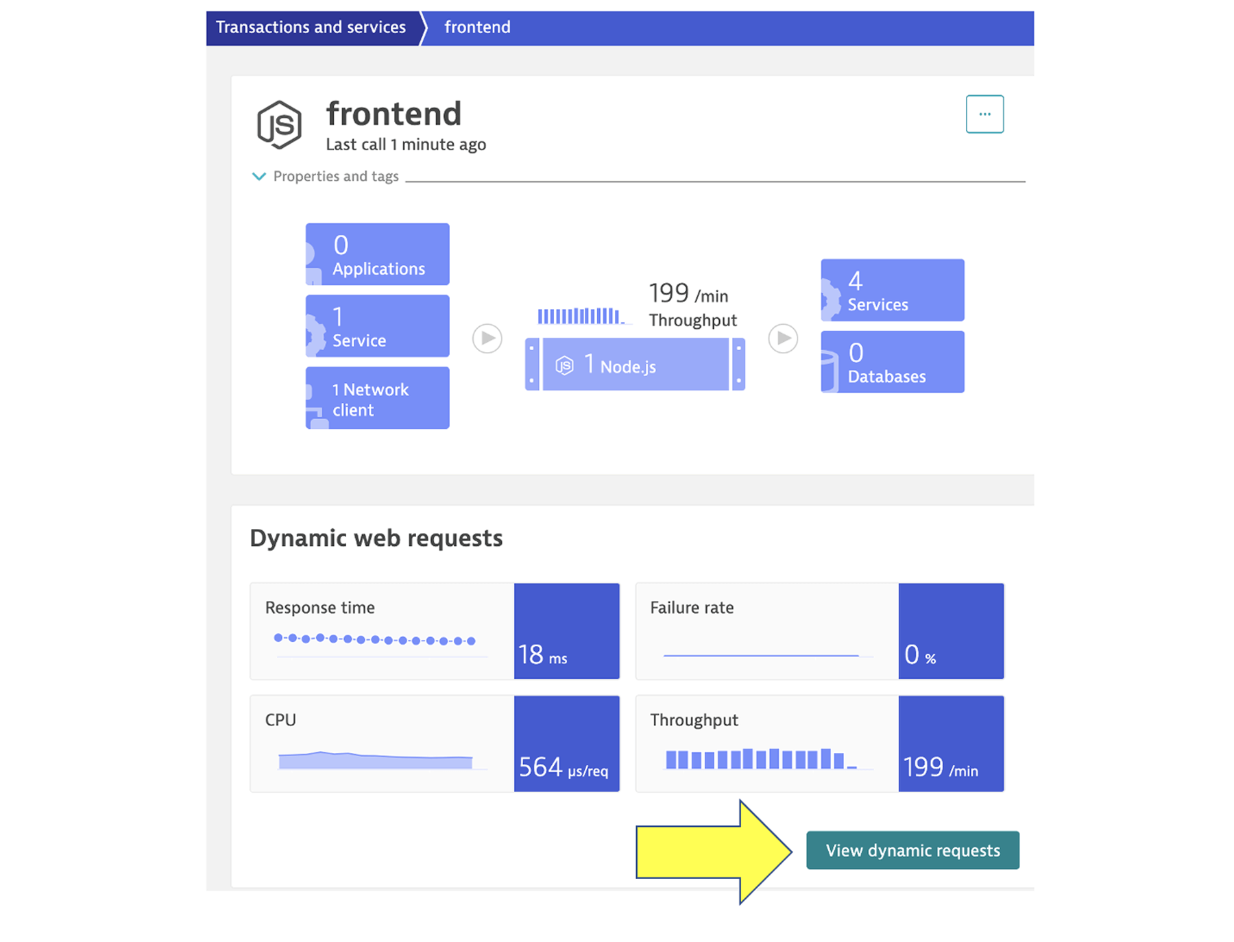 Frontend services window