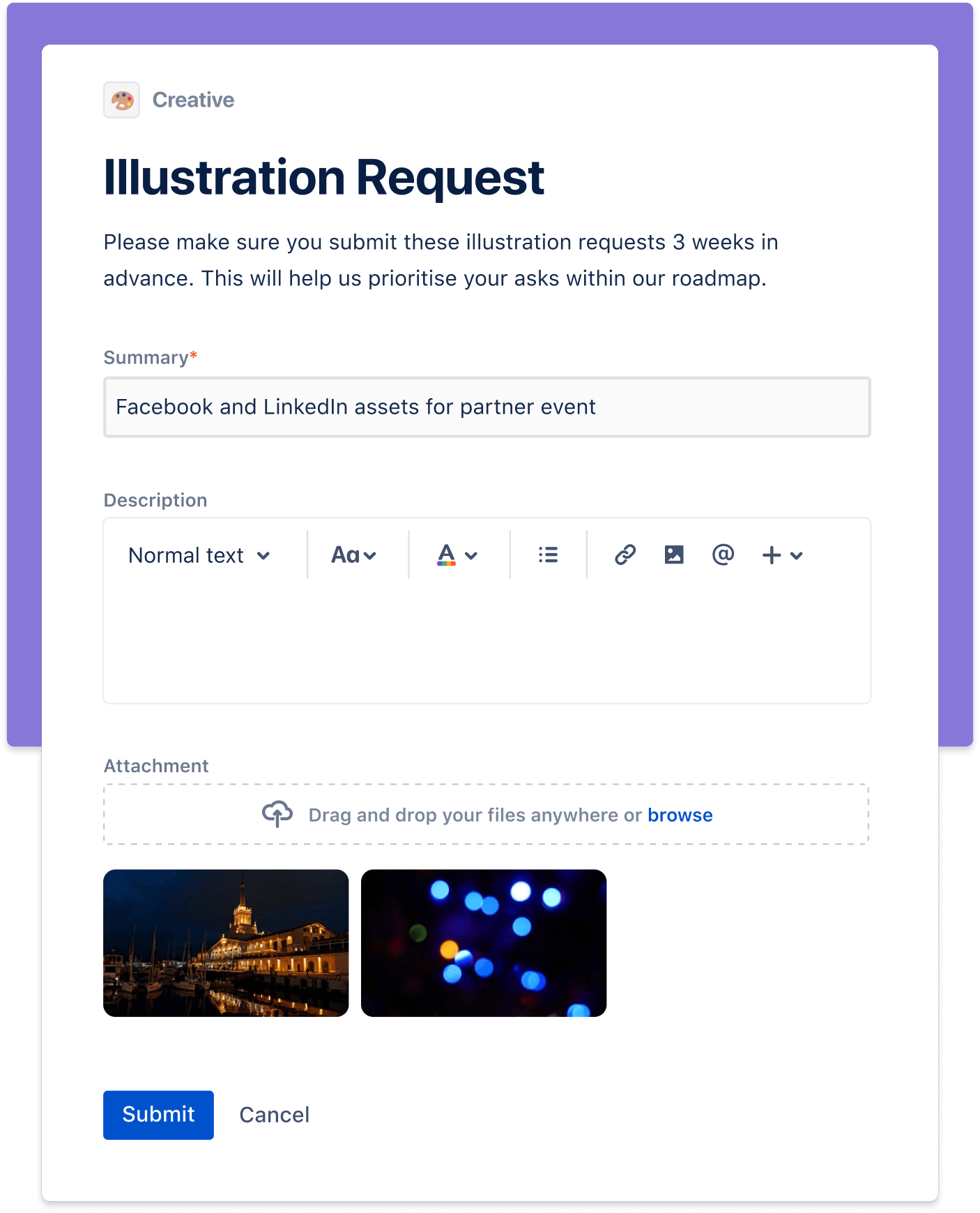 Capture d'écran de demande d'illustration