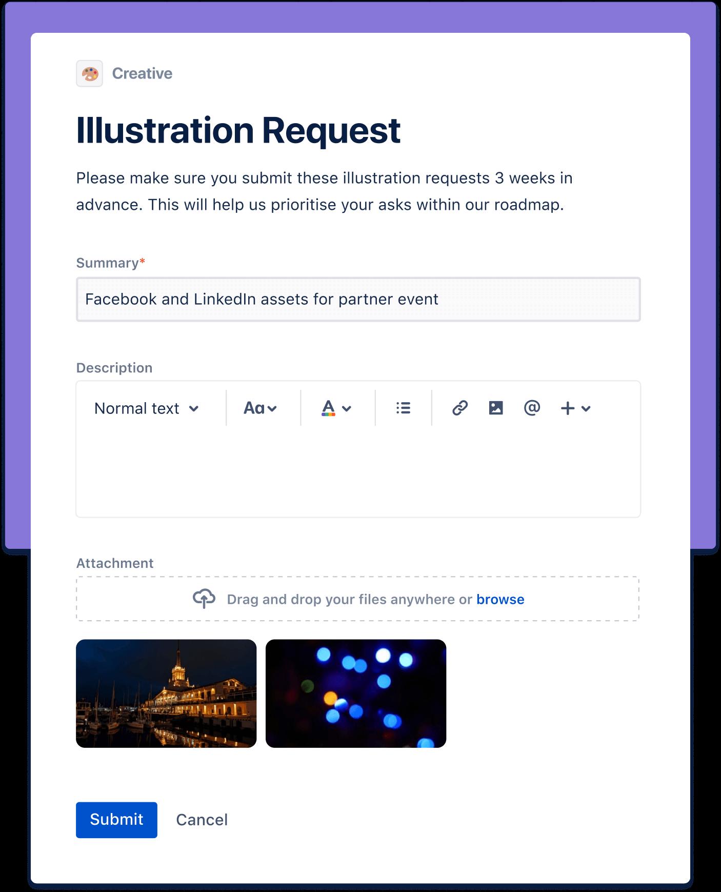 Captura de tela de solicitação de ilustração