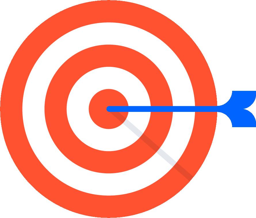 Zielscheibe mit Pfeil