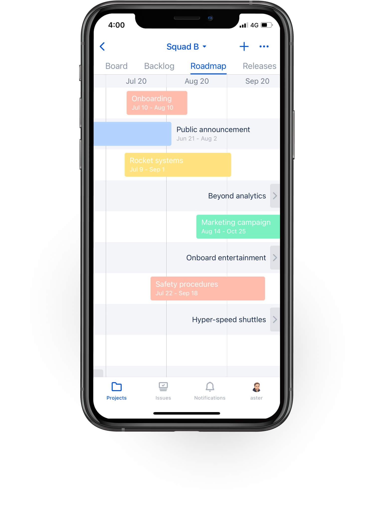 Roteiros no aplicativo móvel Jira Cloud
